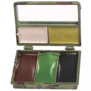 Mil-Tec Kamouflage Ansiktsfärg 5 Färger med Spegel - Woodland